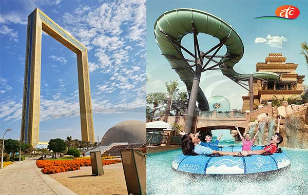 Dubai Frame and Aquaventure Water Park